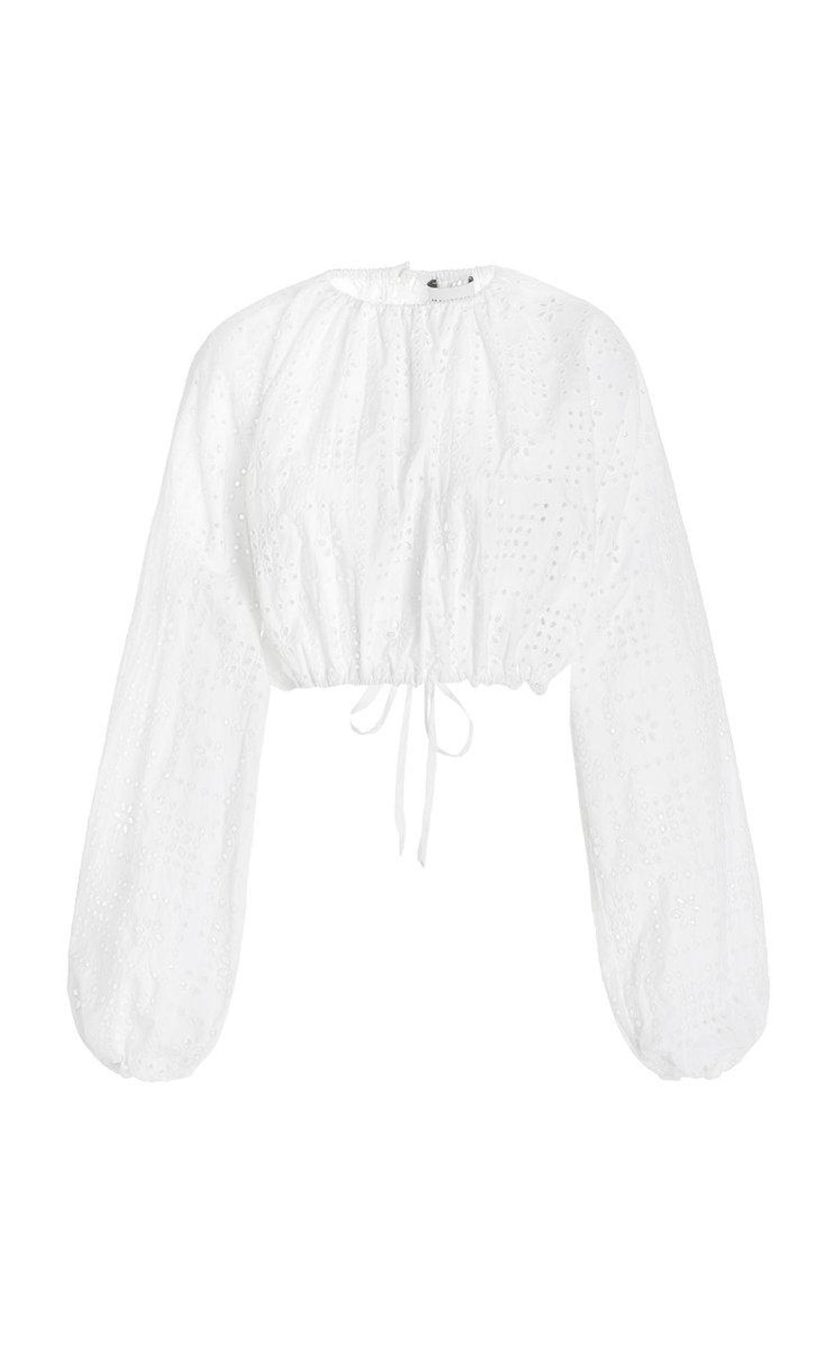 Broderie Cotton Cropped Blouse