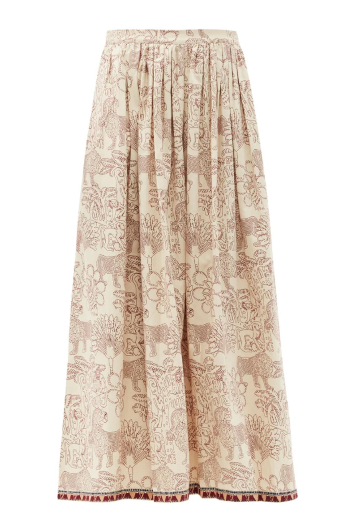 Jane Lion and Monkey Print Cotton Midi Skirt