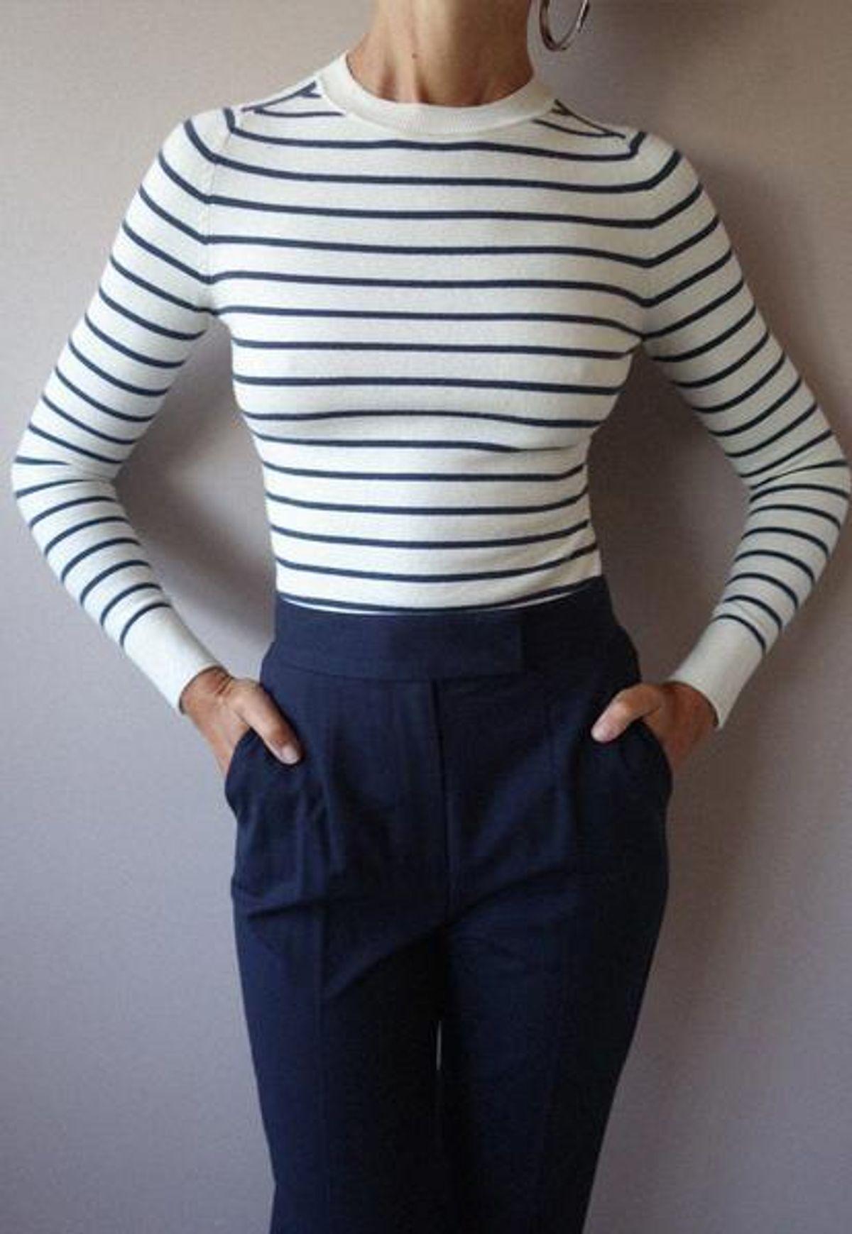 joostricot striped white marine peachskin crewneck
