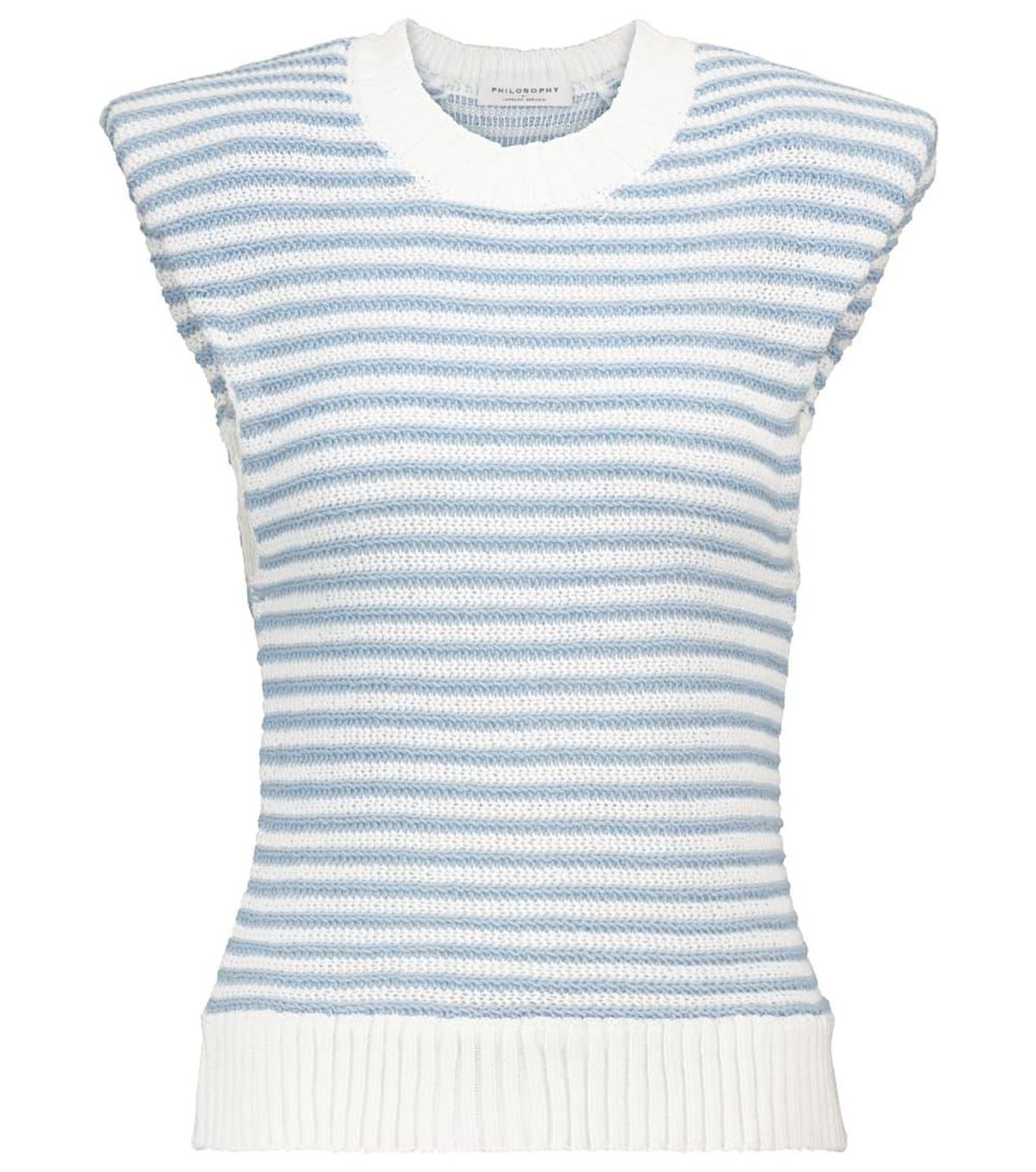 philosophy di lorenzo serafini striped cotton blend top