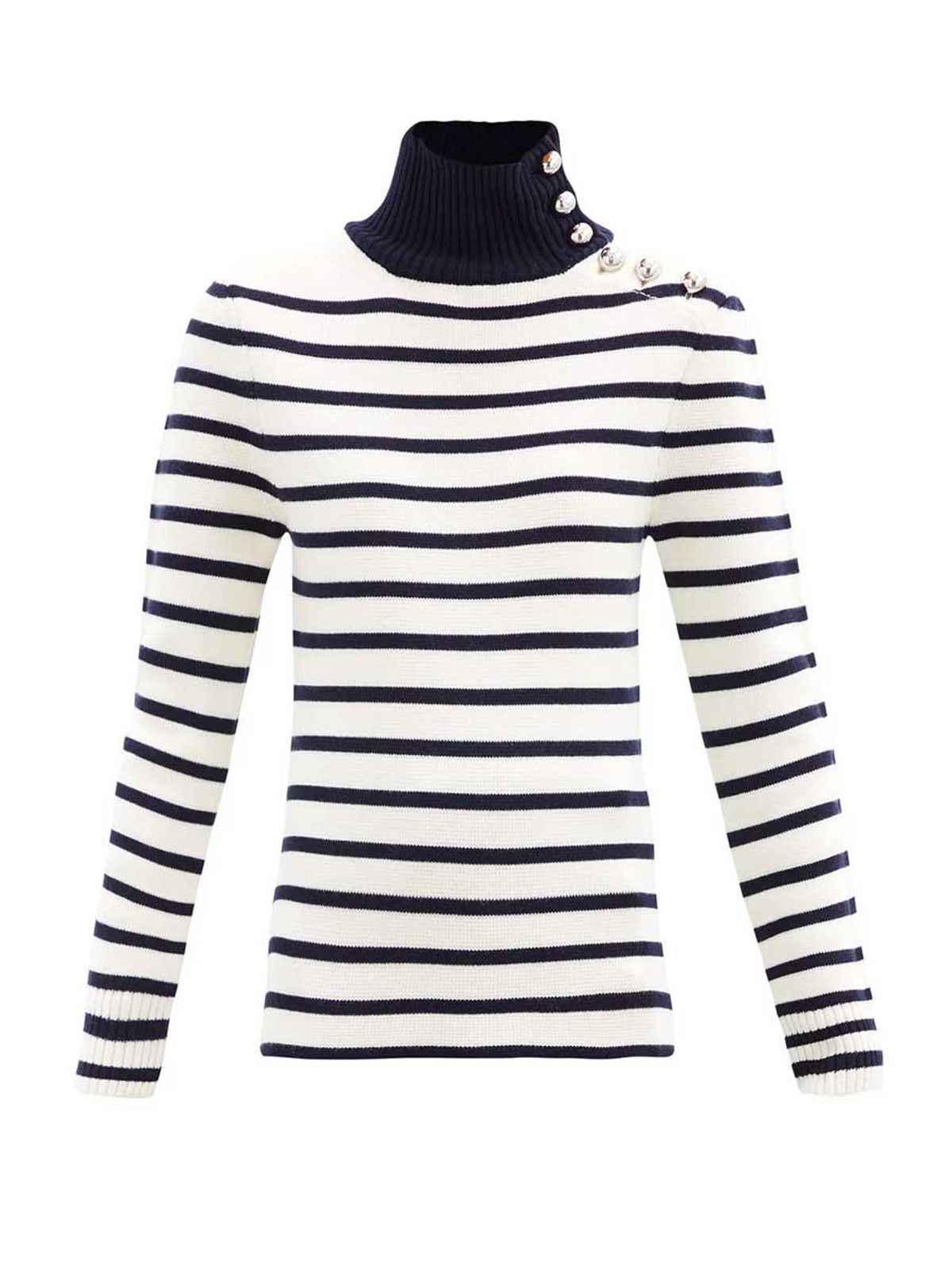 paco rabanne button embellished striped virgin wool sweater