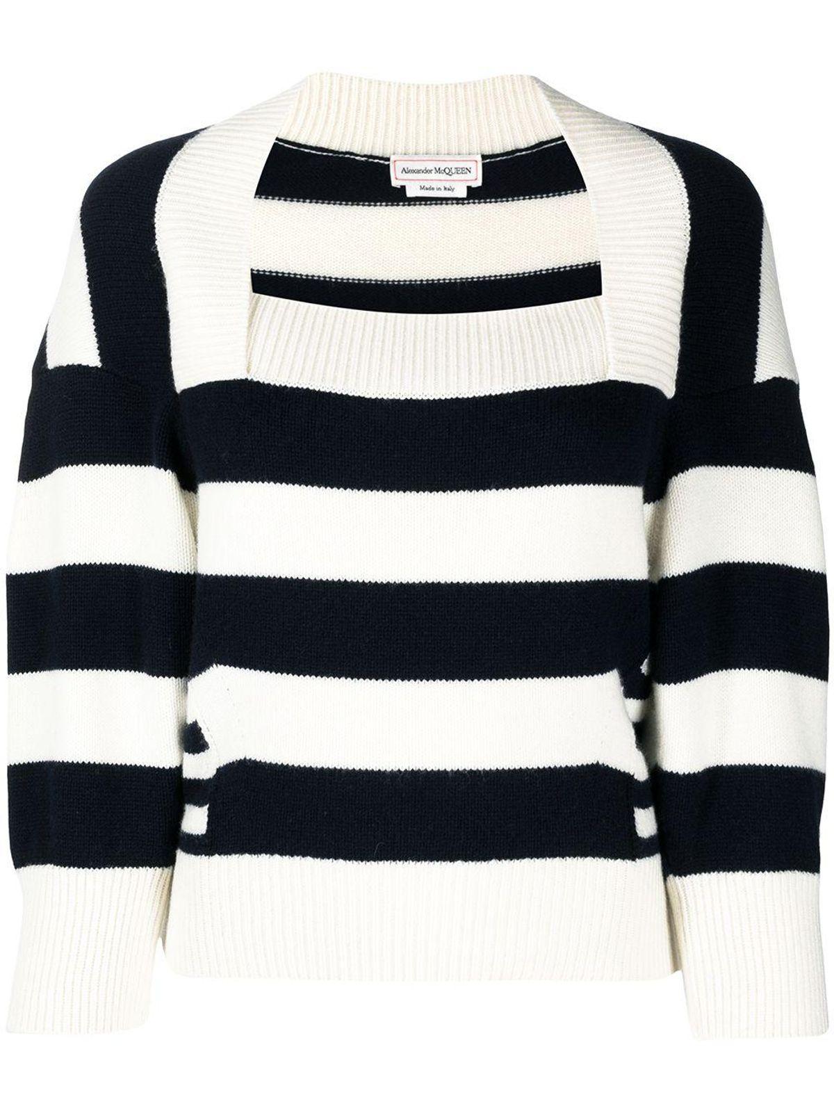 alexander mcqueen striped wool cashmere top