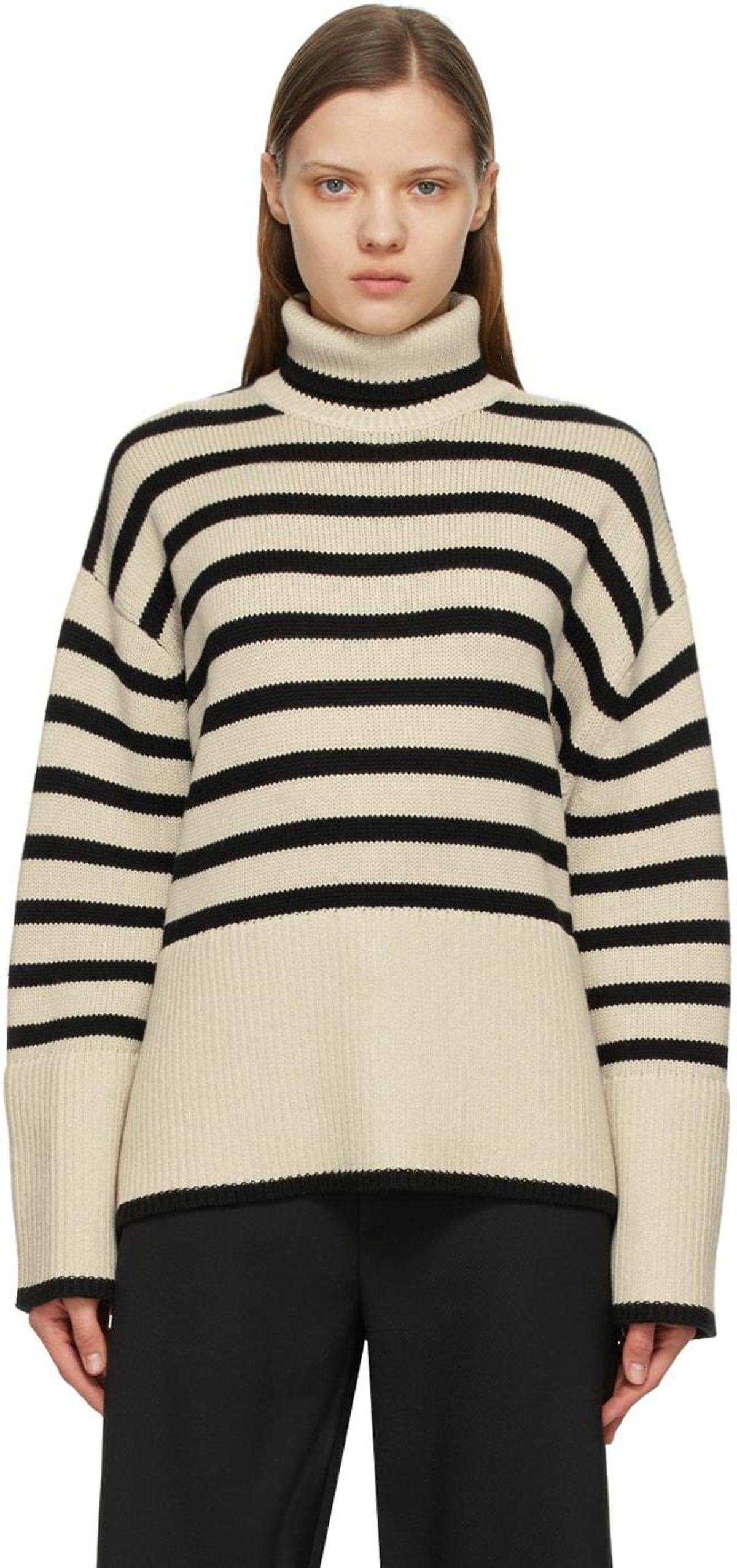 toteme beige and black signature stripe turtleneck