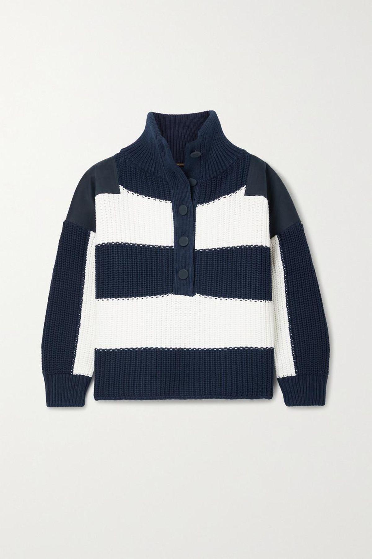 adam lippes oversized twill paneled striped ribbed cotton sweater