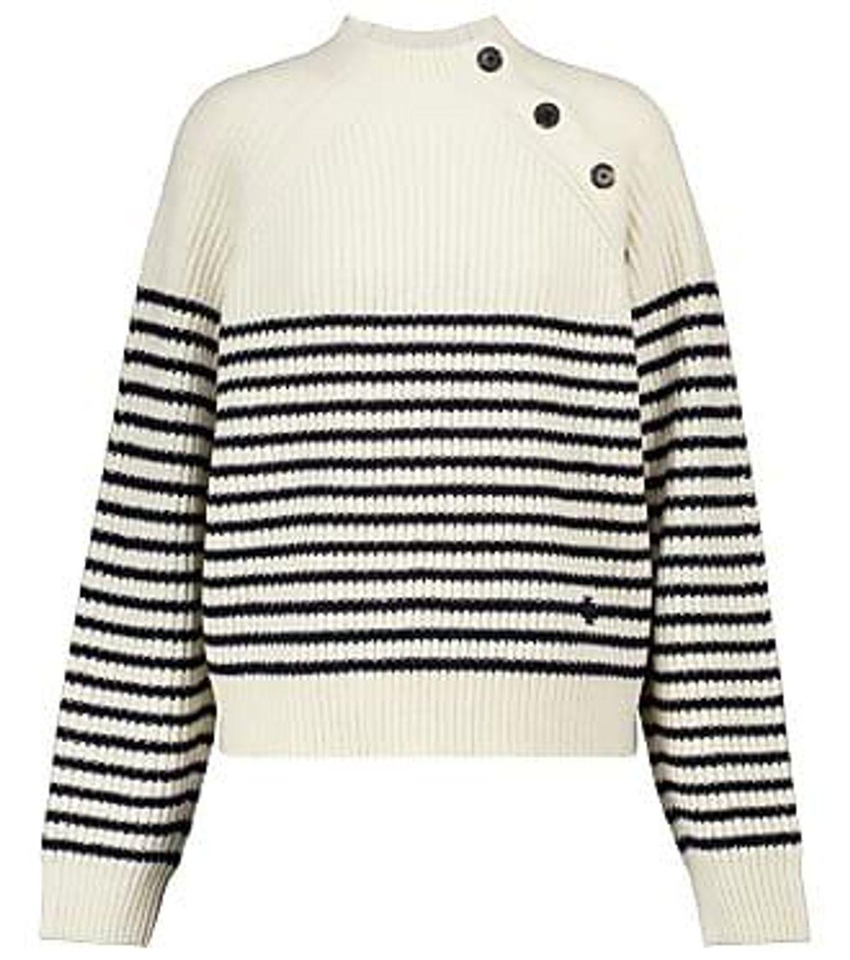 tory burch breton stripe merino mock neck sweater