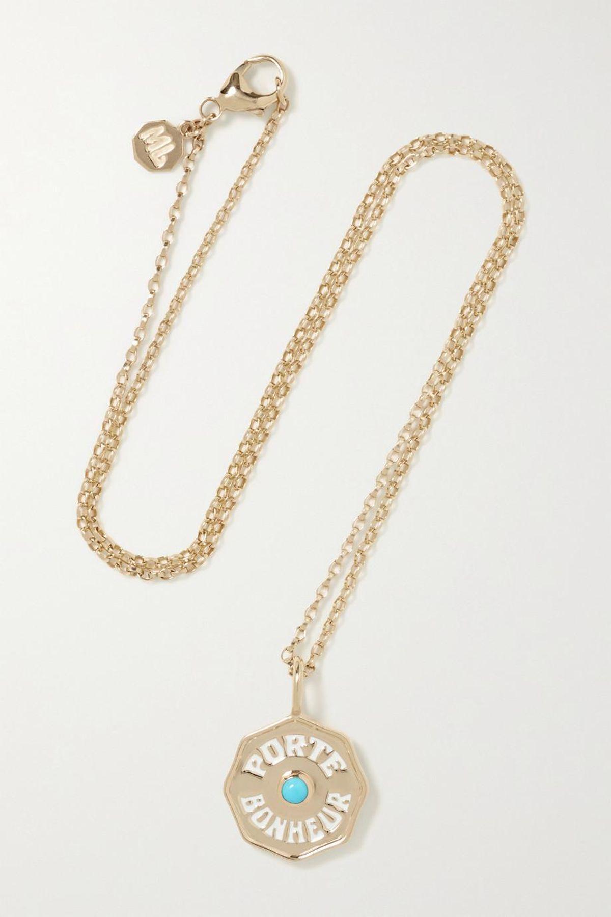 Mini Porte Bonheur Coin 14 Karat Gold Enamel and Turquoise Necklace