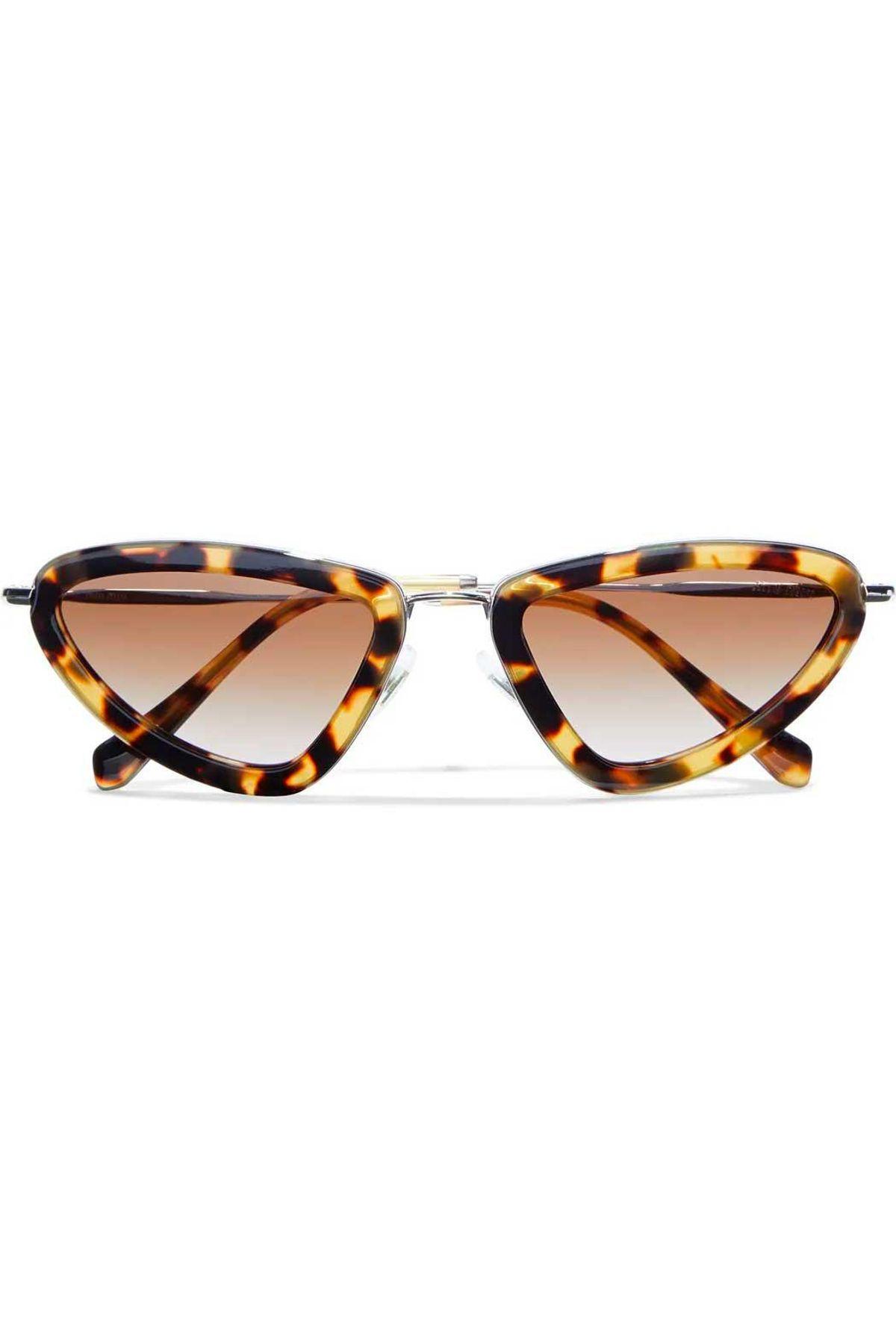 miu miu cat eye silver tone and tortoiseshell acetate sunglasses