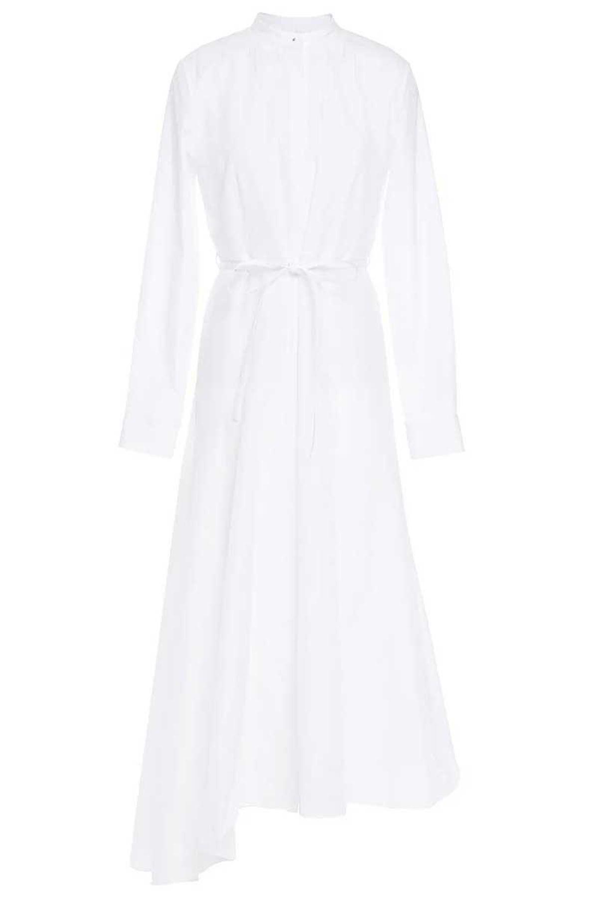 theory asymmetric cotton belted midi dress