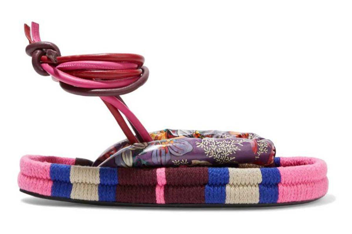 isabel marant elliam floral print coated canvas and cord sandals