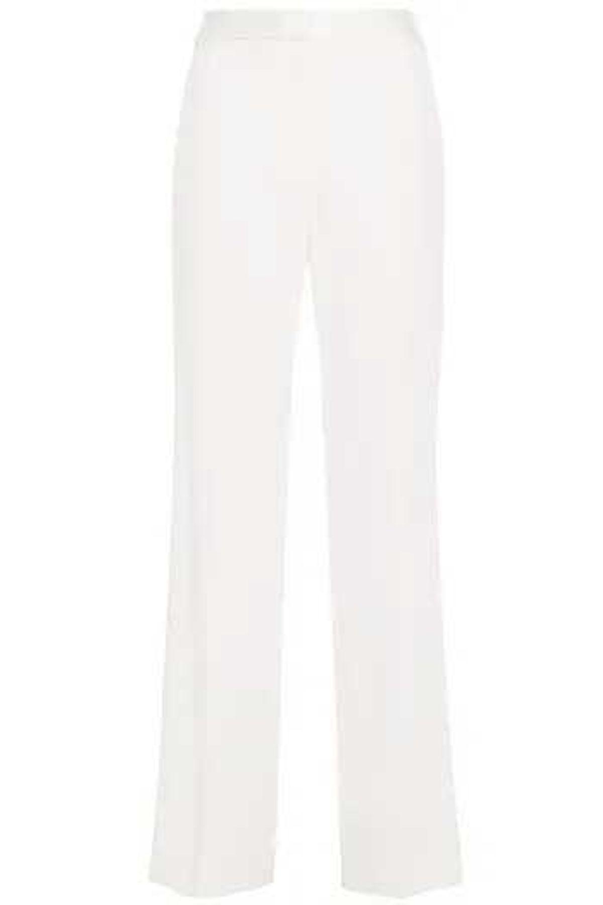 diane von furstenberg satin trimmed stretch crepe straight leg pants