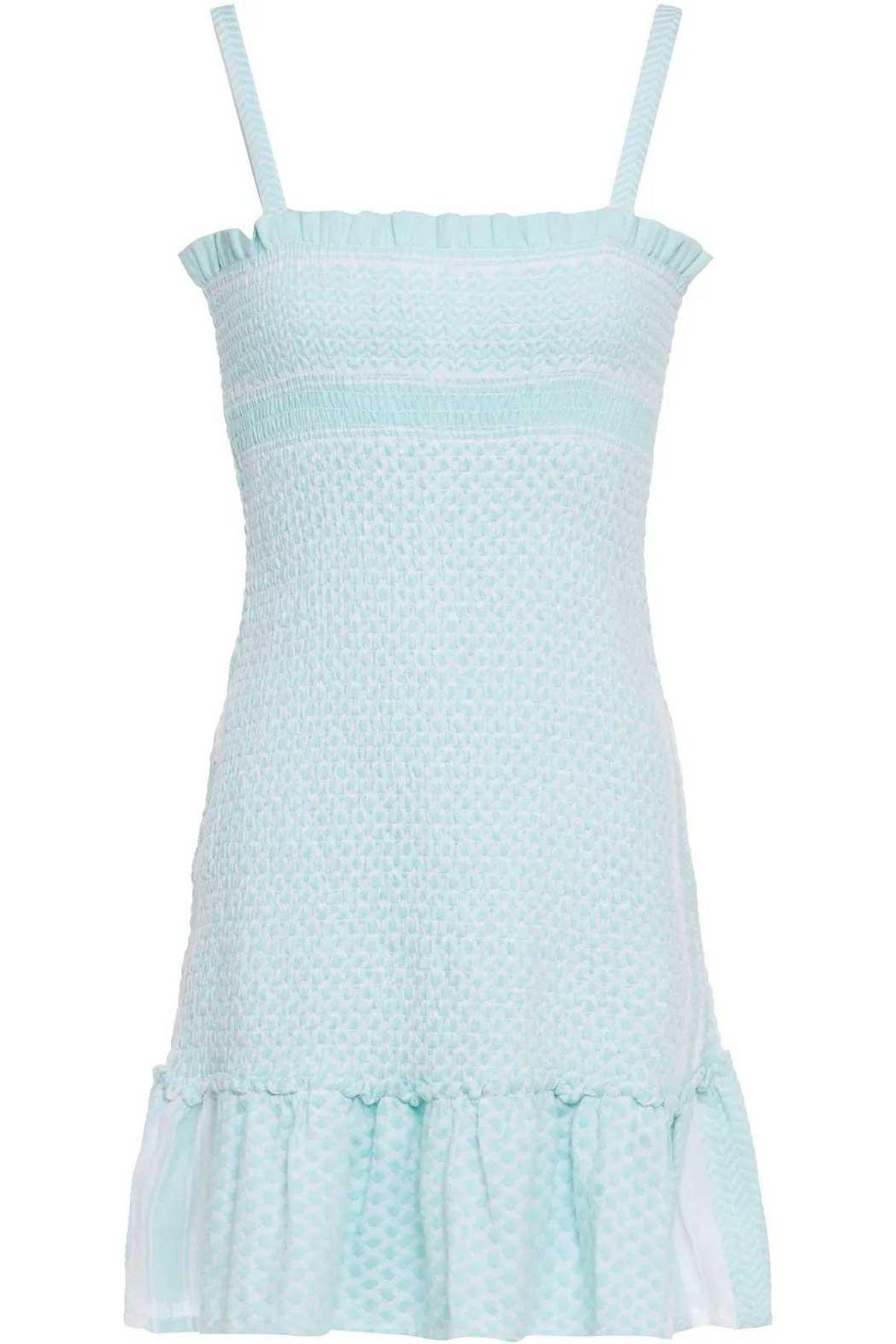 cecilie copenhagen judith fluted shirred cotton jacquard mini dress