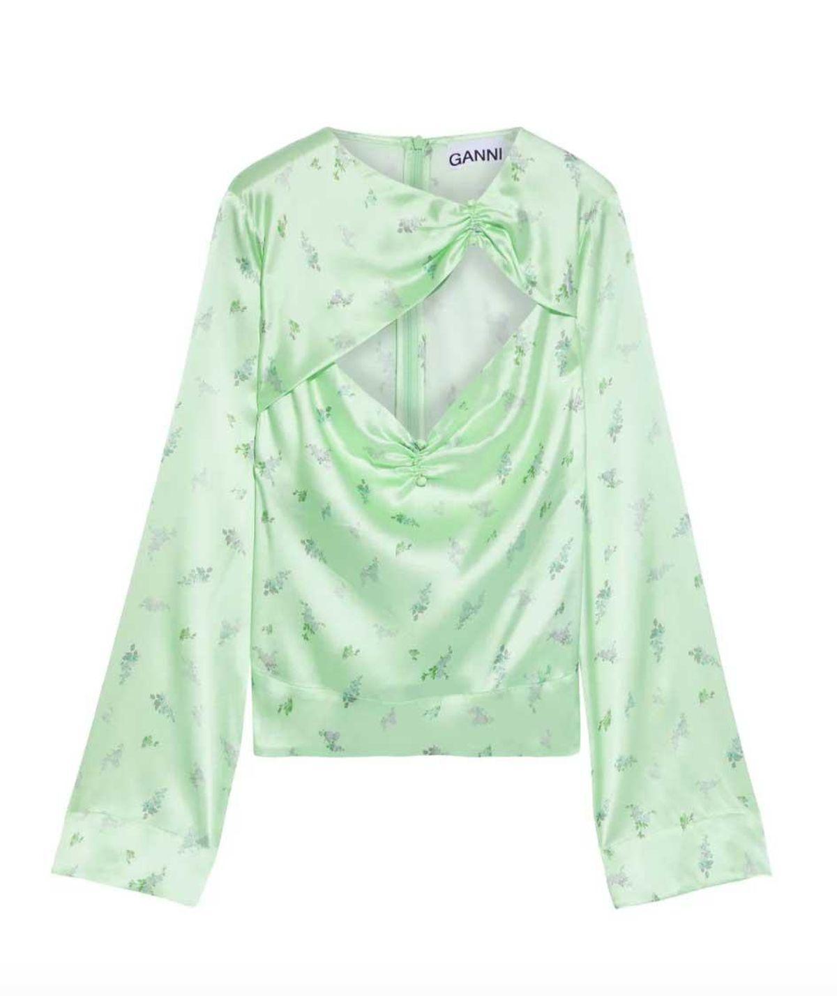 ganni cutout ruched floral print silk blend satin blouse