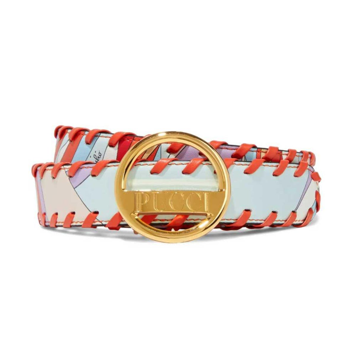 emilio pucci whipstitched printed leather belt
