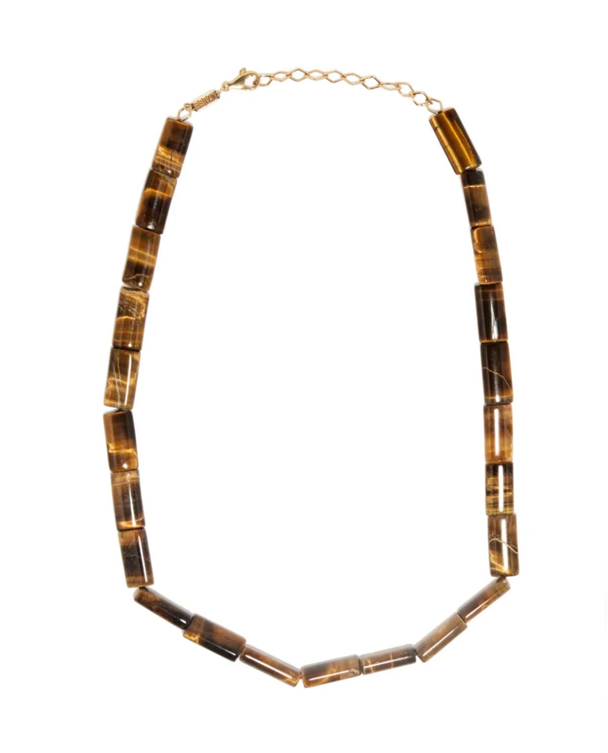 Tiger Eye & 18kt Gold Beaded Necklace