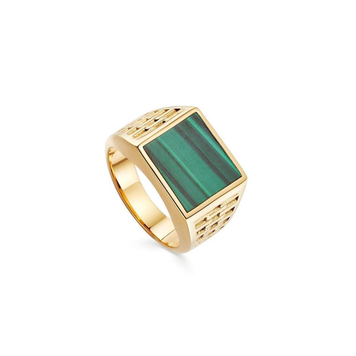 Fused Malachite Woven Square Signet Ring