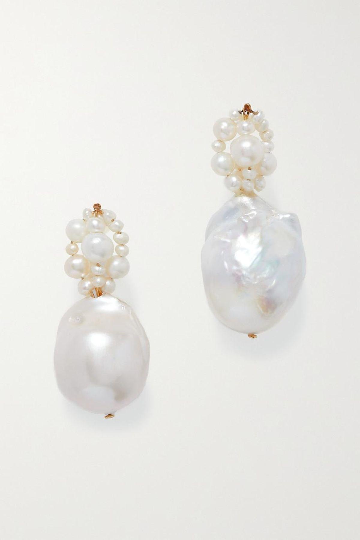 Tra-La-La Gold Vermeil Pearl Earrings