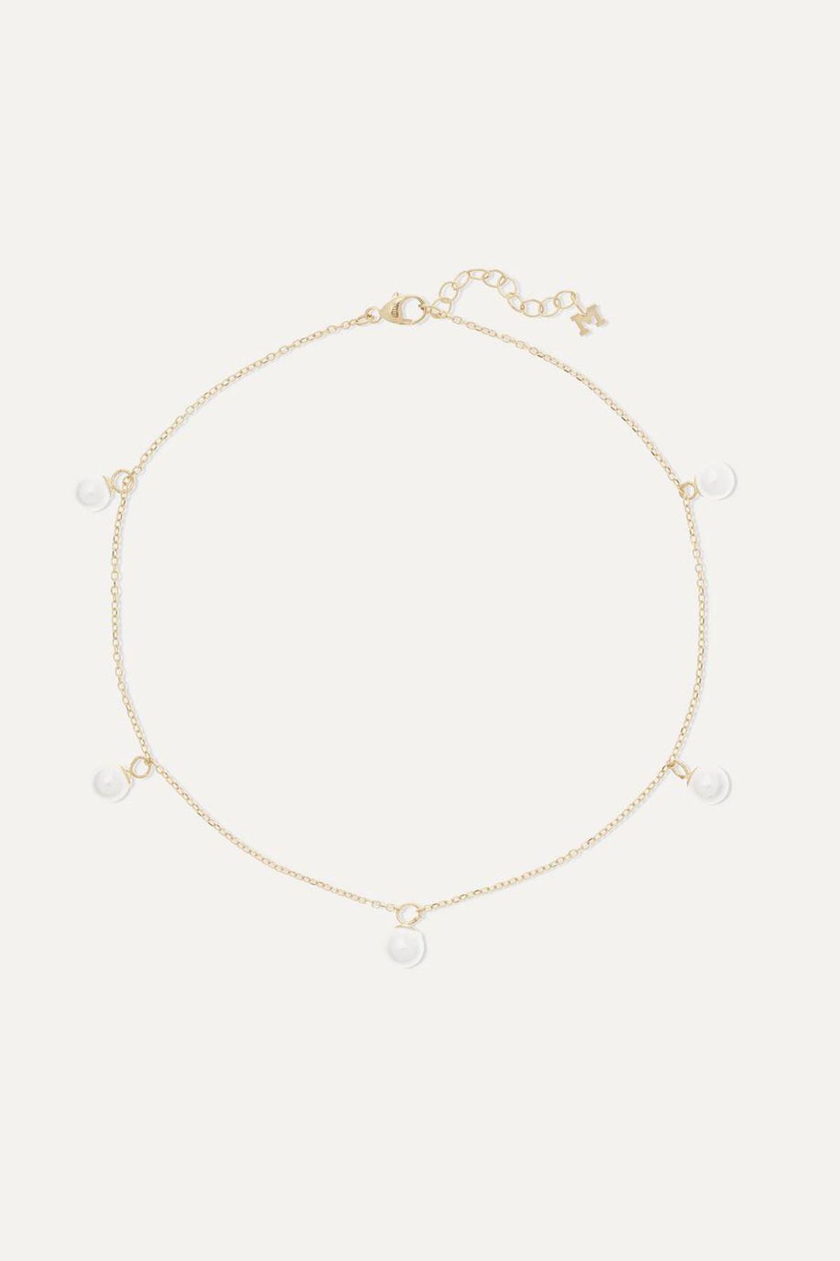14 Karat Gold Pearl Anklet