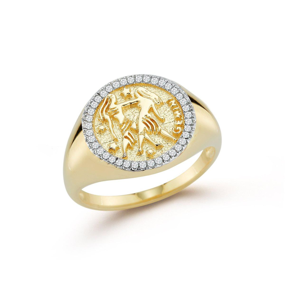 14kt Gold Zodiac Coin Ring