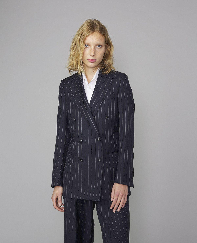 Italian Pinstripe Wool Manon Jacket