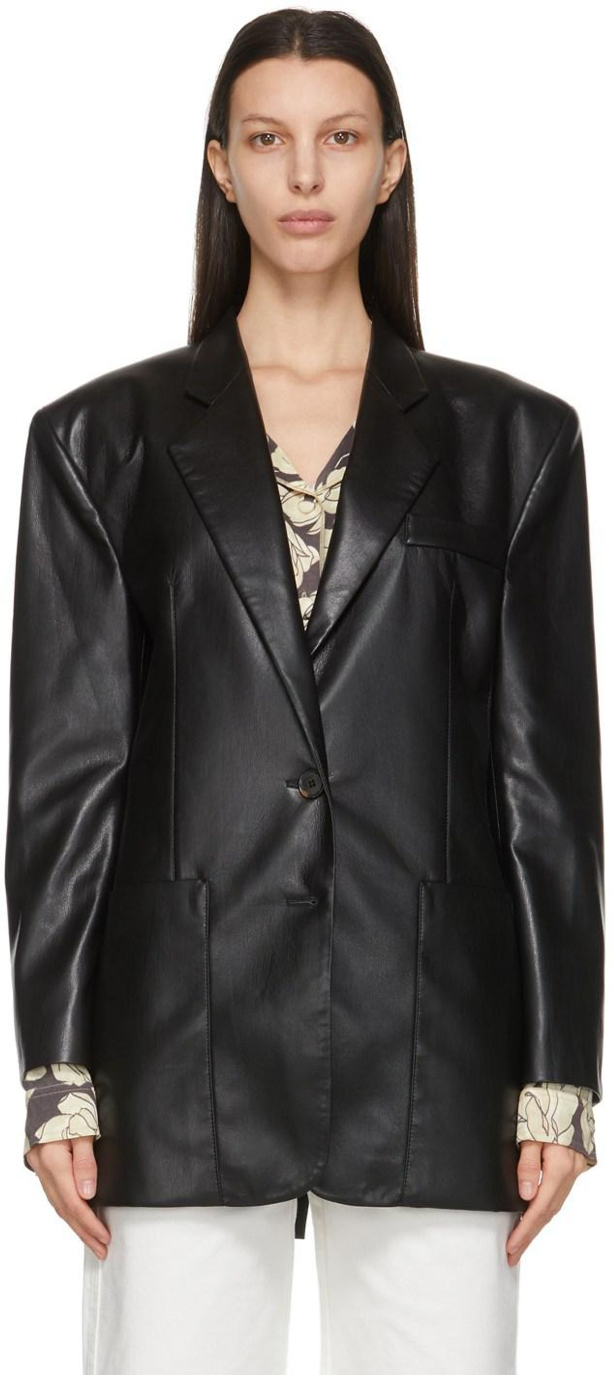 Black Vegan Leather Evan Blazer