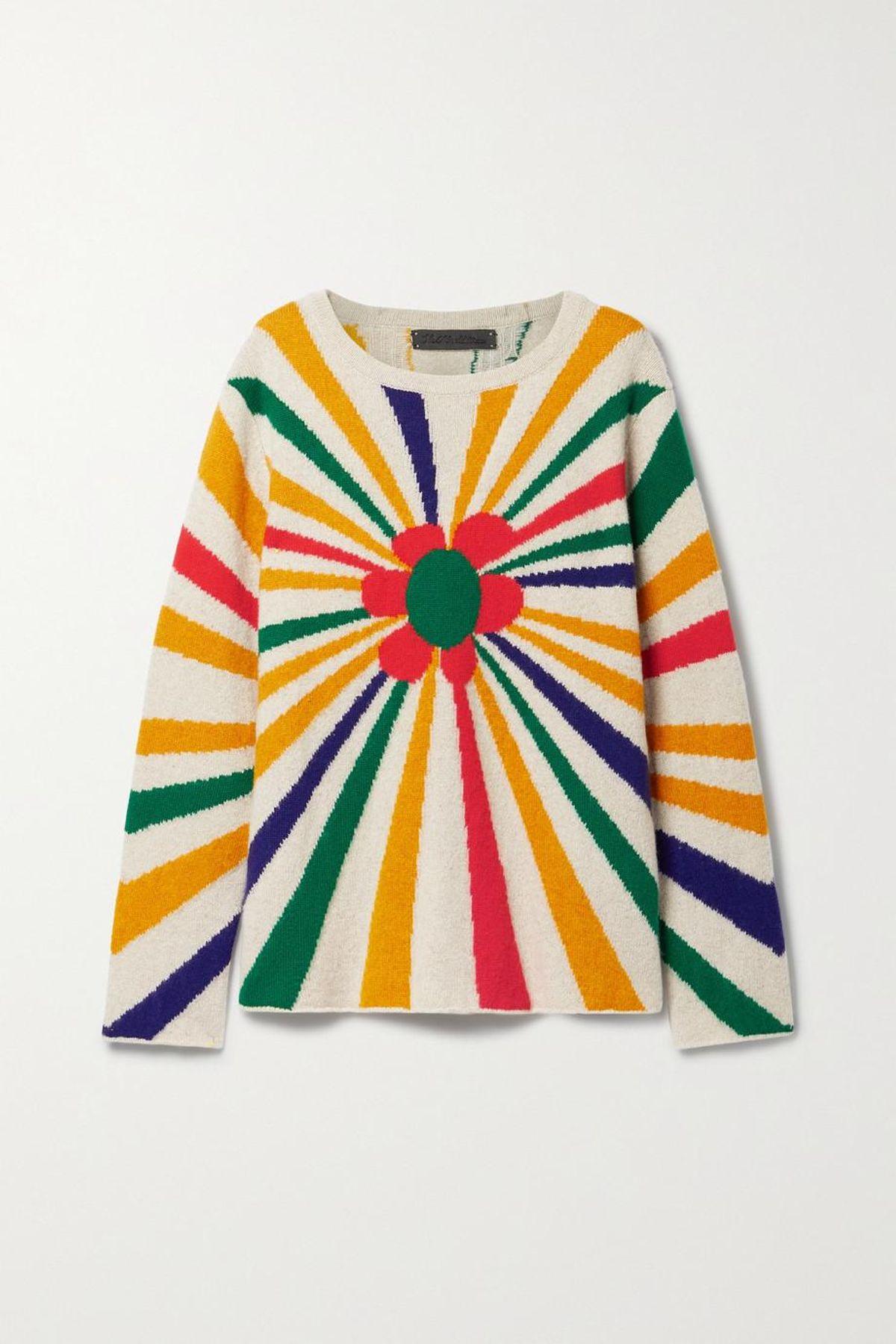 Flower Energy Intarsia Cashmere Sweater