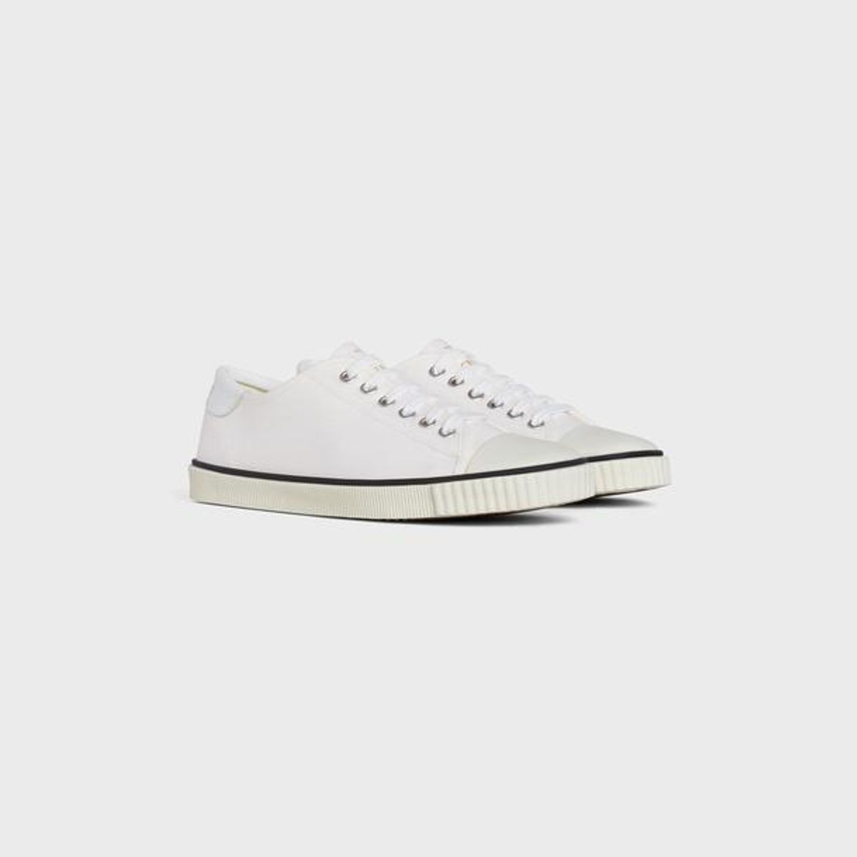 Blank Low Lace Up Sneaker with Toe Cap in Canvas and Calfskin
