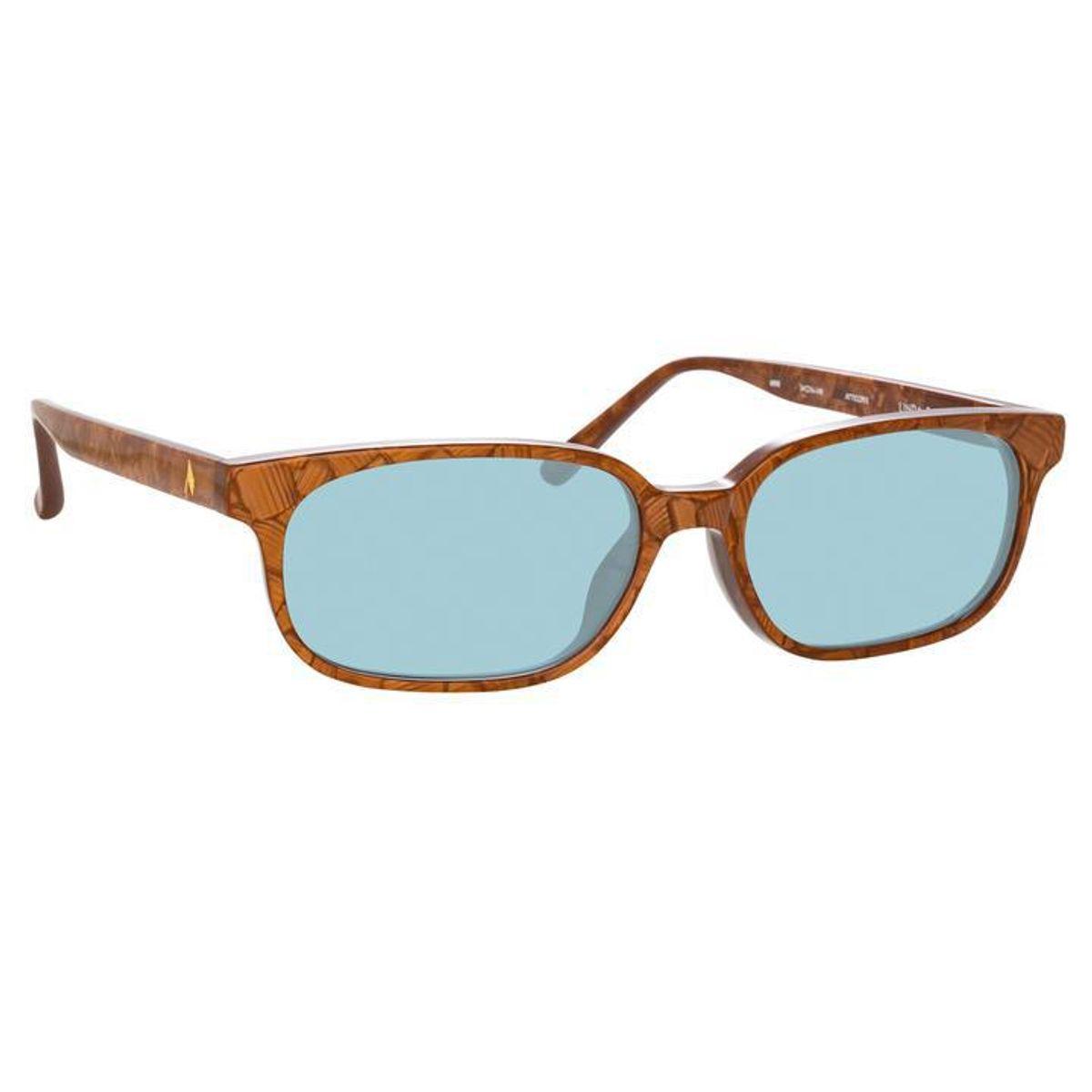 Gigi Rectangular Sunglasses in Brown and Turquoise