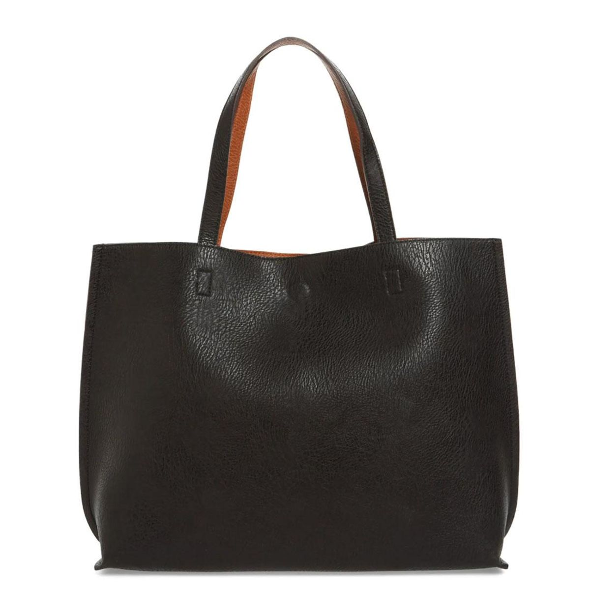street level reversible faux leather tote and wristlet