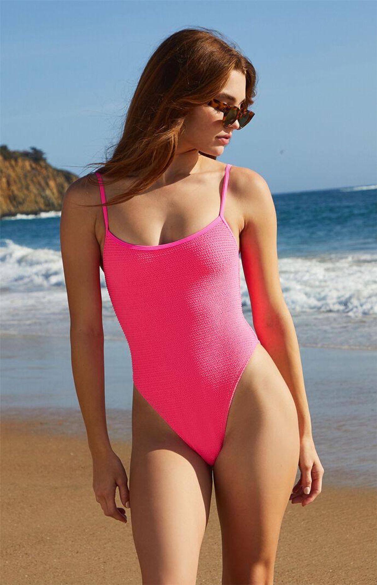 Hot Pink Cora Scrunch One Piece Swimsuit
