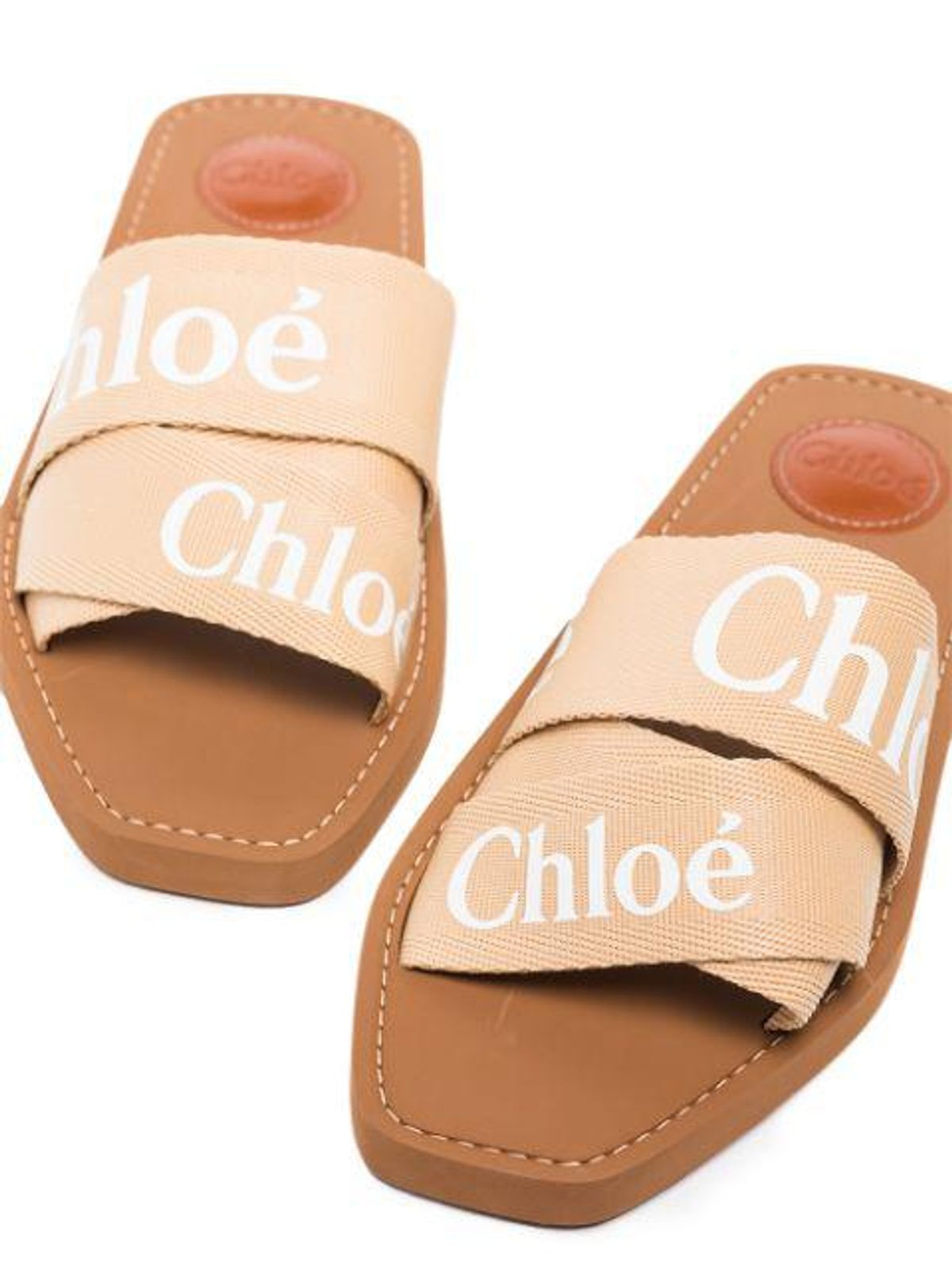 Woody Logo Strap Sandals in Soft Tan