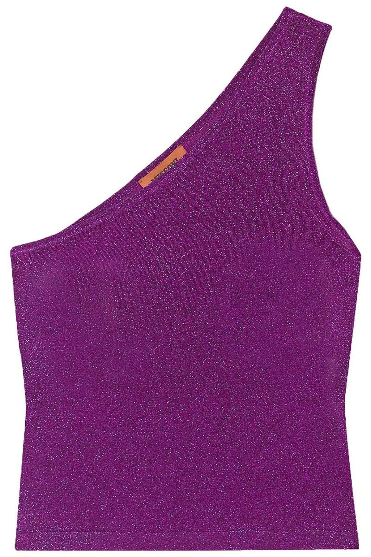 missoni one shoulder metallic crochet knit top