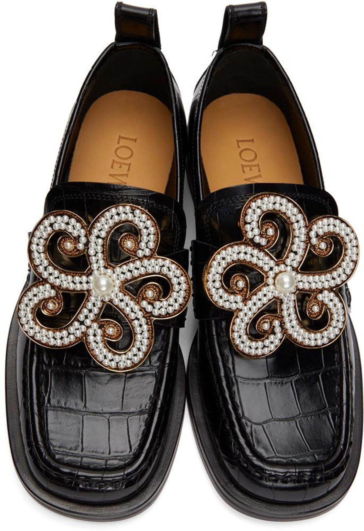 Black Croc Flower Loafers