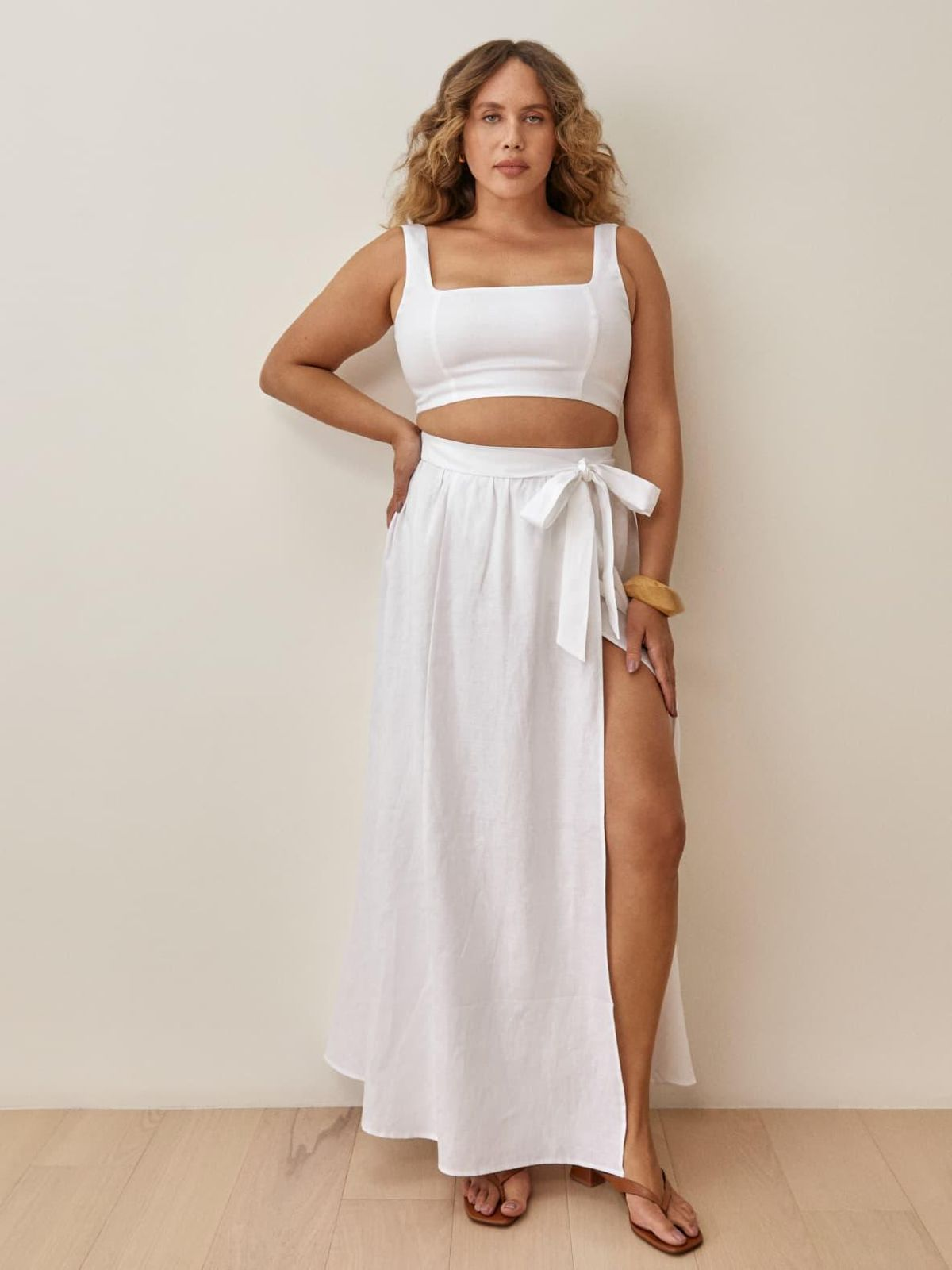 reformation palm linen two piece