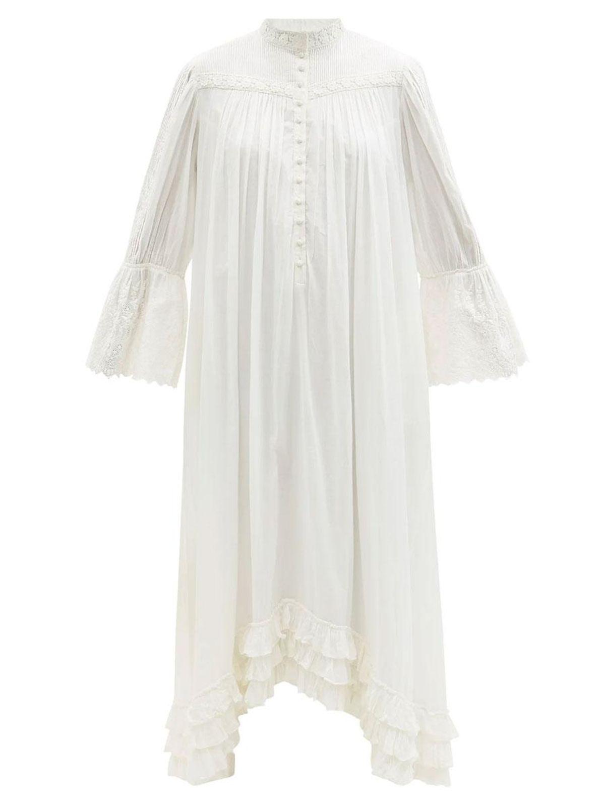 mimi prober bronte lace trimmed organic cotton shirt dress