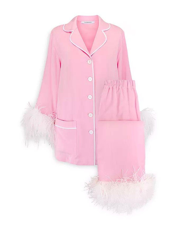 sleeper feather trim pajama set