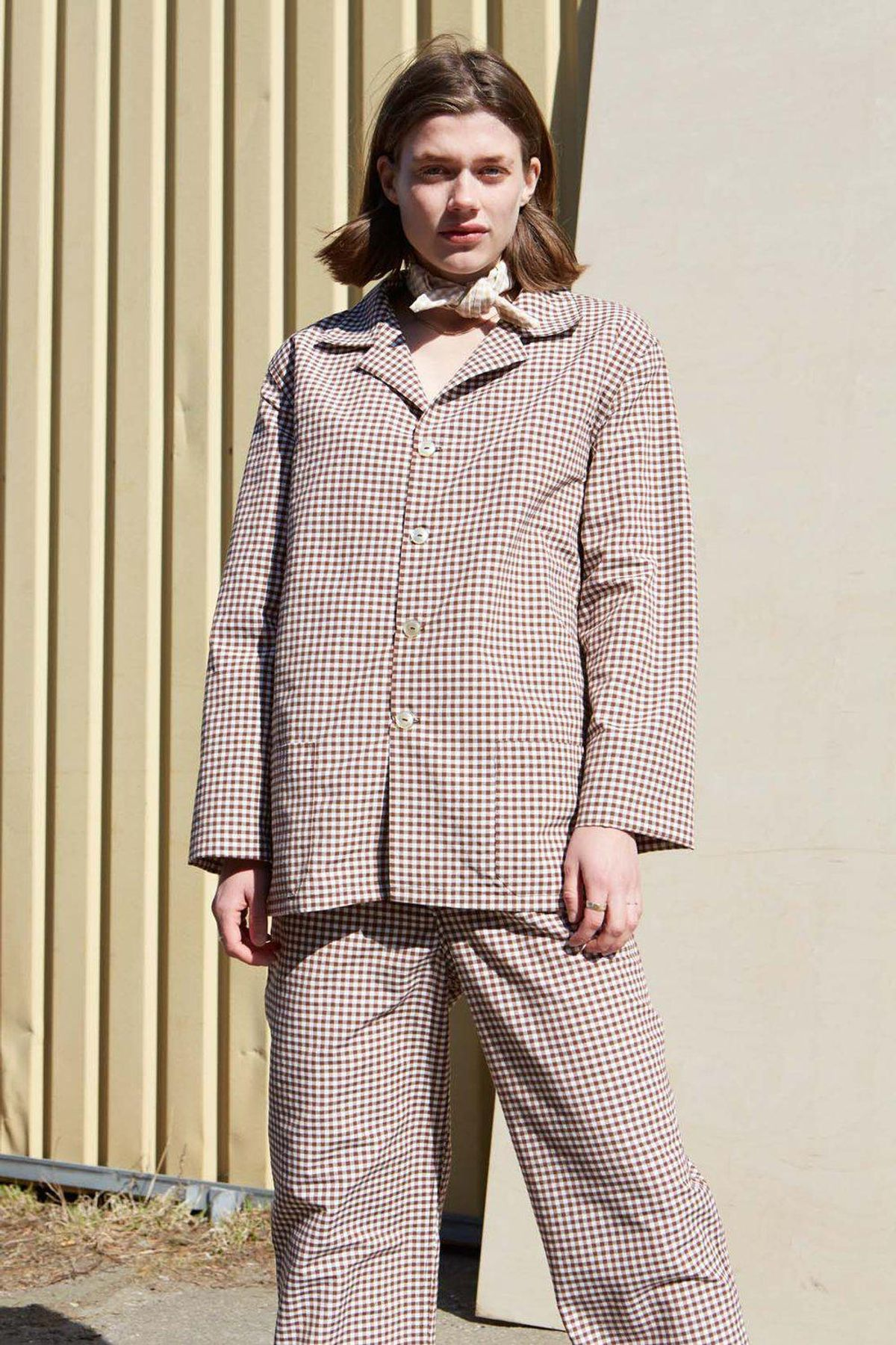 studio travel checked unisex brown pyjamas blazer