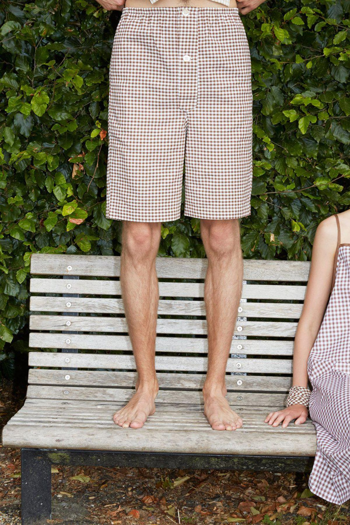 studio travel checked unisex brown pyjamas shorts