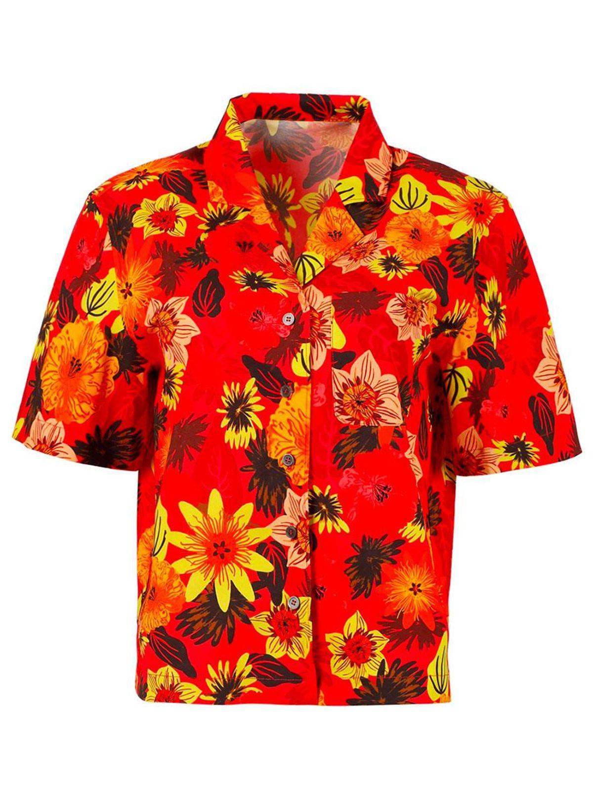 lhd escadaria button up shirt tropical floral red