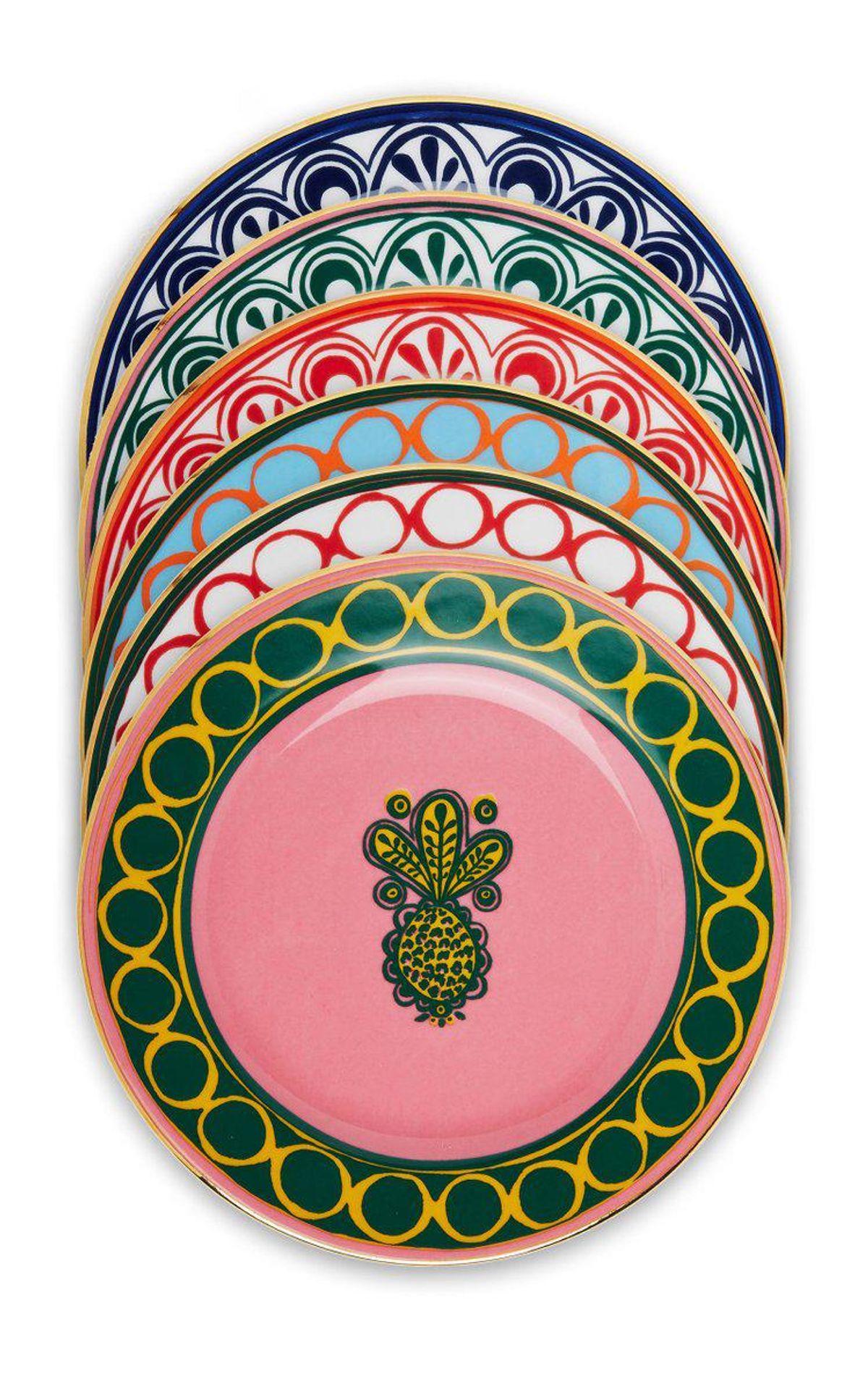 Set-of-6 Painted Porcelain Dessert Plates