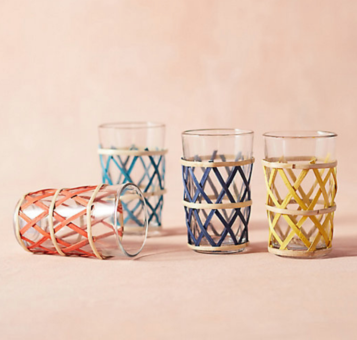 Colorful Cane-Wrapped Tumblers Set of 4