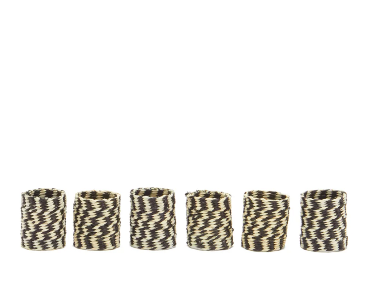 Set of Six Straw Napkin Rings and Box