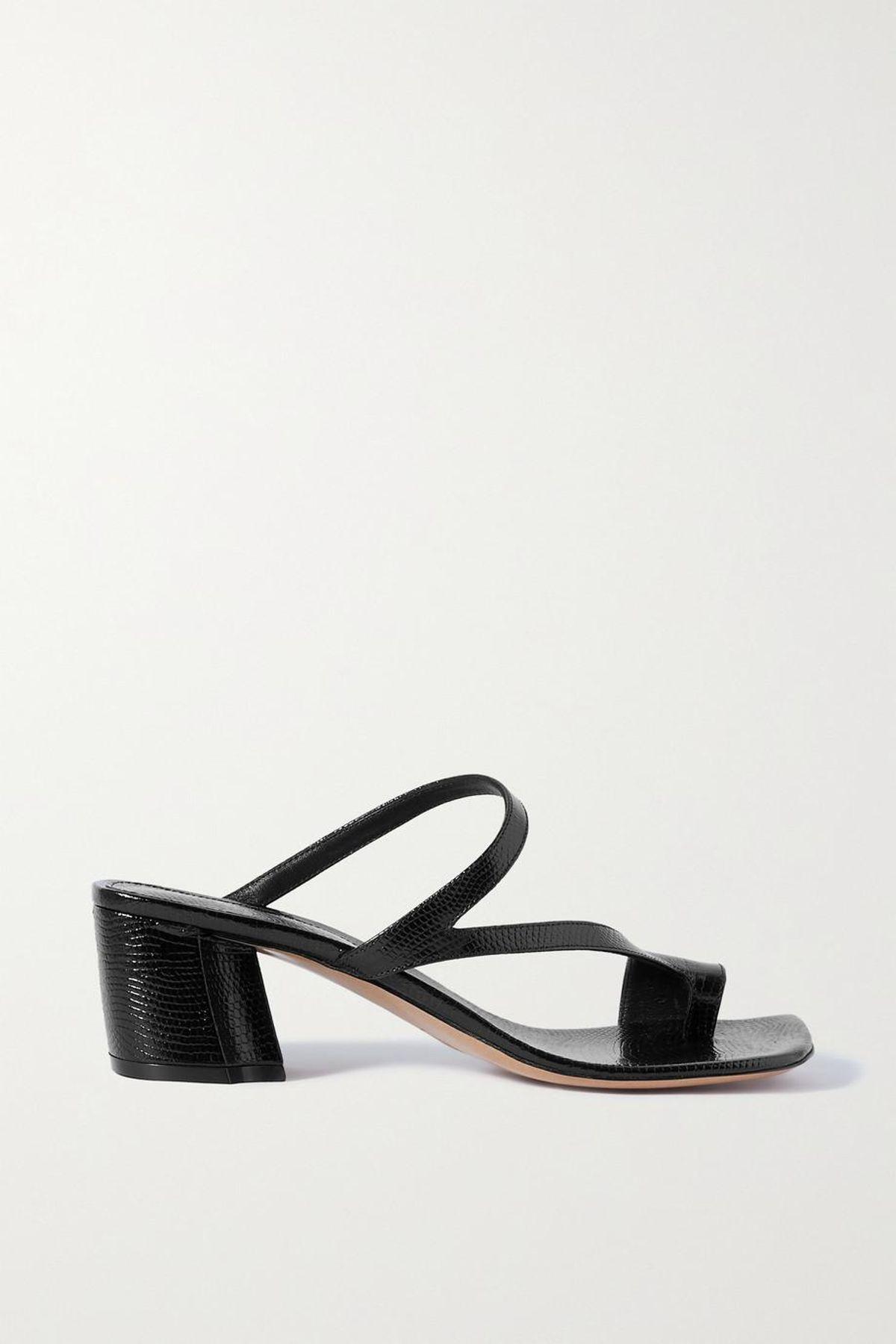 Lizard Effect Leather Sandals