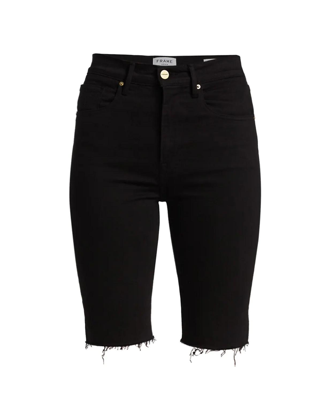 Black Le Vintage Bermuda Frayed Denim Shorts
