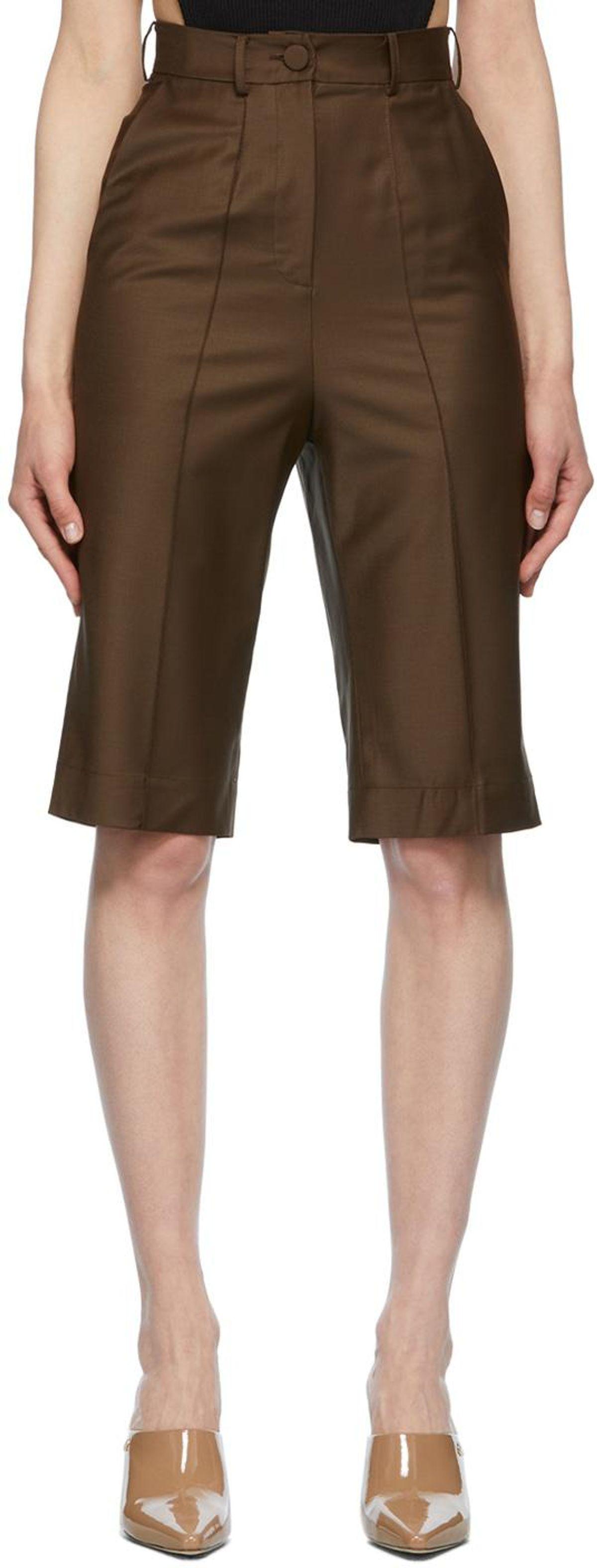 Brown Tropical Wool Shorts