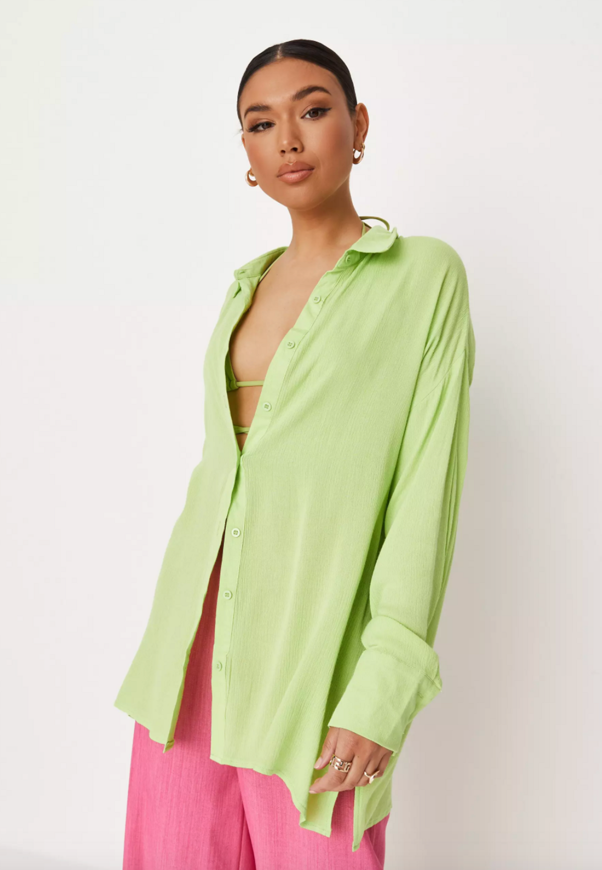 Lime Cheesecloth Oversized Beach Cover-Up Shirt