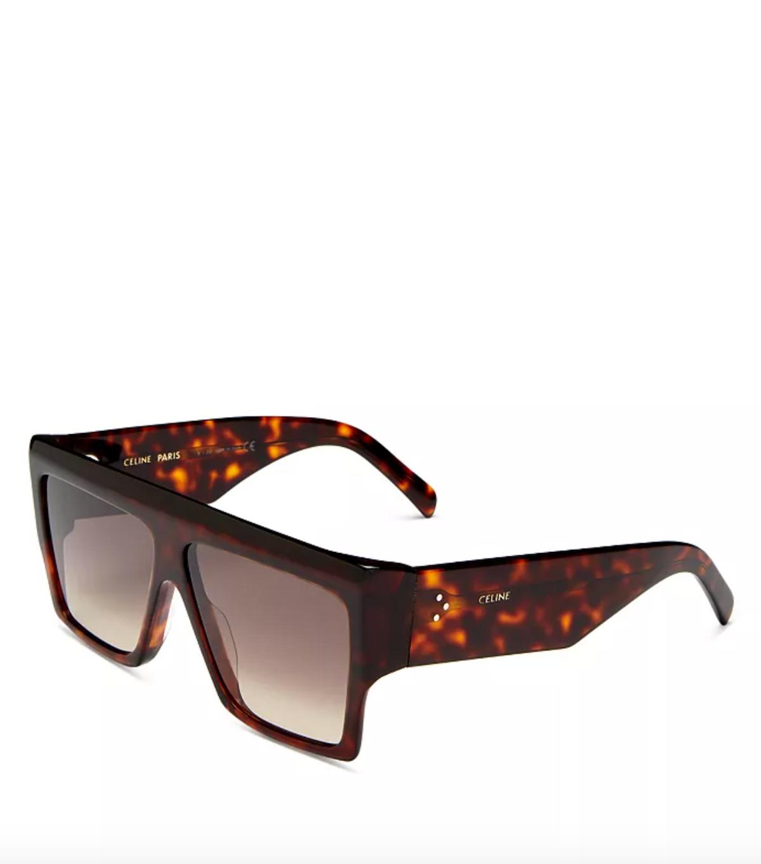 Unisex Flat Top Square Sunglasses, 60mm