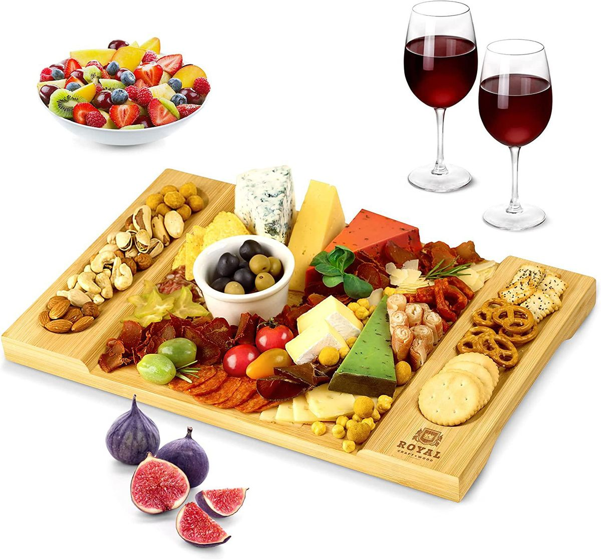 royal craft wood unique bamboo cheese board charcuterie platter and serving tray
