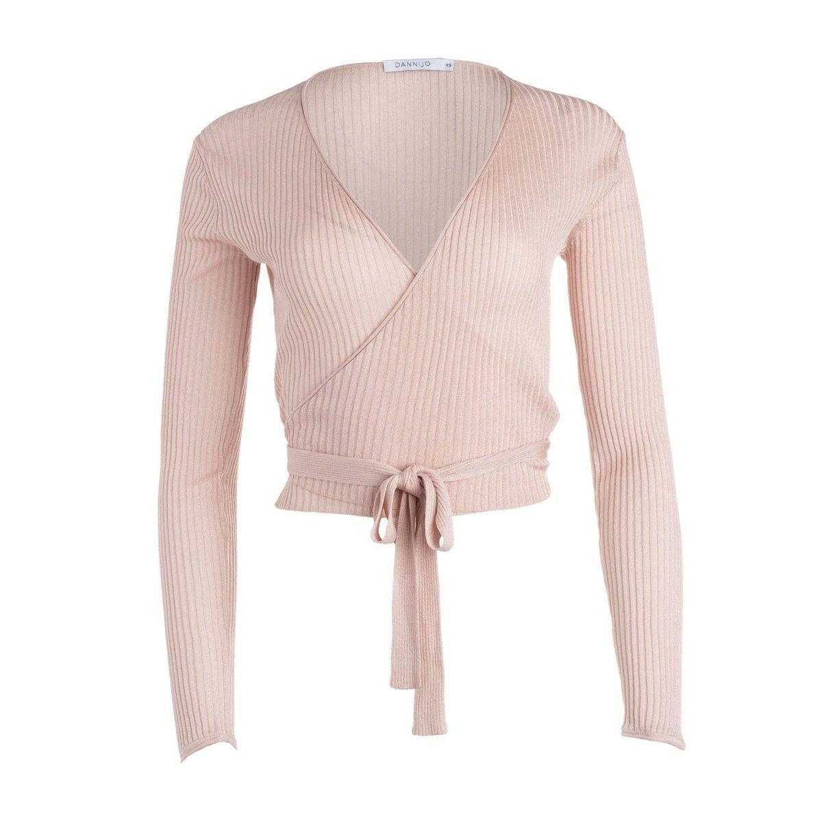 dannijo wrap ballet cardigan light pink