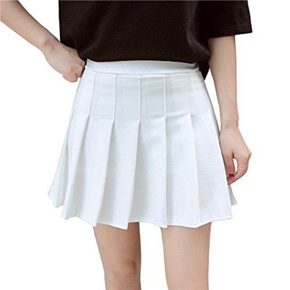 hoerev women girls short high waist pleated skater tennis skirt
