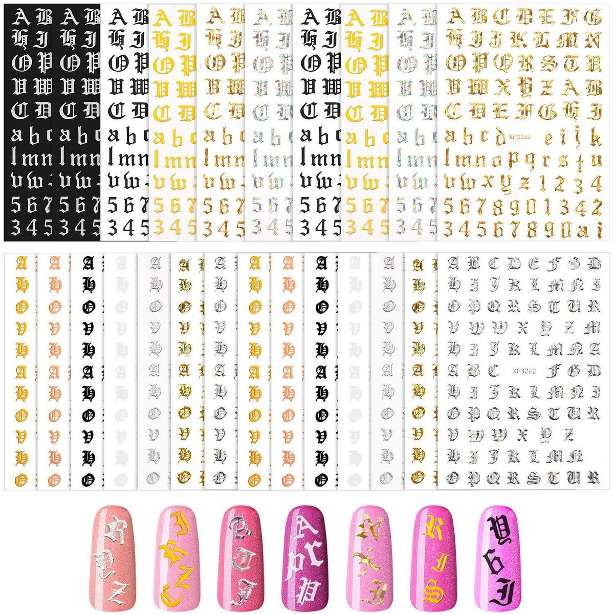 Nail Art Stickers in Classic Colors